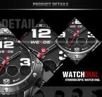 WEIDE водонепроницаемые мужские часы с круглым циферблатом, календариком, подсветкой и ремешком из искусственной кожи.