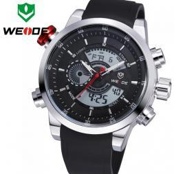 WEIDE многофункциональные водонепроницаемые мужские часы с круглым светодиодным дисплеем и ремешком из искусственной кожи.