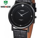 WEIDE WG-93001B-1 мужские водонепроницаемые часы с оригинальным циферблатом и ремешком из натуральной кожи.