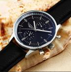 GUANQIN мужские мульти-функциональные водонепроницаемые часы с большим циферблатом, календариком и кожаным ремешком.