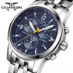 GUANQIN GQ50009 мужские водонепроницаемые часы с круглым циферблатом, календариком и ремешком из нержавеющей стали.