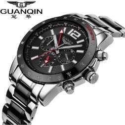 GUANQIN мужские водонепроницаемые часы с круглым циферблатом, календариком и керамическим ремешком.