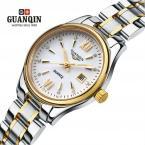 GUANQIN женские водонепроницаемые часы с круглым циферблатом, календариком и браслетом из нержавеющей стали.