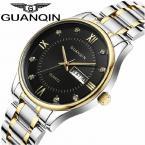 GUANQIN мужские водонепроницаемые часы с большим циферблатом, календариком, римскими цифрами и кристаллами, указывающими время и ремешком из нержавеющей стали.