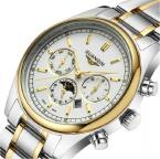 GUANQIN водонепроницаемые мужские часы с круглым циферблатом, календариком и ремешком из нержавеющей стали.
