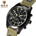 HOLUNS мужские водонепроницаемые часы с круглым циферблатом, хронографом, календариком и брезентовым ремешком.
