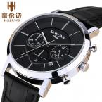 new HOLUNS business waterproof fashionable leisure brand quality goods quartz man luxury leather wrist watch
