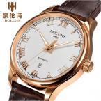 HOLUNS мужские водонепроницаемые часы с круглым циферблатом, хронографом, календариком и кожаным ремешком.