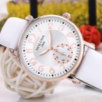 HOLUNS женские водонепроницаемые часы с круглым циферблатом и кожаным ремешком.