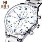 HOLUNS мужские водонепроницаемые часы с большим циферблатом, арабскими цифрами, указывающими время, хронографом и ремешком из нержавеющей стали.