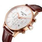 HOLUNS мужские водонепроницаемые часы с большим циферблатом, календариком и кожаным ремешком.