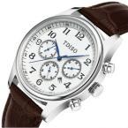 TDISO мужские водонепроницаемые часы с круглым циферблатом, календариком и кожаным ремешком.