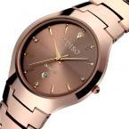 TDISO парные водонепроницаемые часы с круглым циферблатом, календариком и вольфрамовым ремешком.