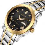 TDISO водонепроницаемые мужские часы с круглым циферблатом, римскими цифрами и кристаллами, указывающими время и ремешком из нержавеющей стали.