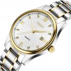 TDISO мужские водонепроницаемые часы с круглым циферблатом, календариком и стальным ремешком.