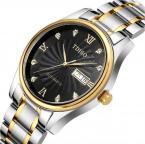 TDISO мужские водонепроницаемые часы с круглым циферблатом, римскими цифрами и кристаллами, указывающими время и ремешком из нержавеющей стали.