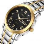 TDISO мужские водонепроницаемые часы с круглым циферблатом, римскими цифрами и кристаллами, указывающими время, календариком и ремешком из нержавеющей стали.