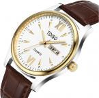 TDISO мужские водонепроницаемые часы с большим циферблатом, календариком и кожаным ремешком.