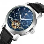 TDISO мужские водонепроницаемые часы с круглым циферблатом, календариком, фазами луны и кожаным ремешком.