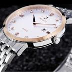 Bestdon мужские водонепроницаемые часы с большим циферблатом, календариком и ремешком из нержавеющей стали.