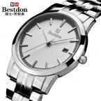 Bestdon мужские водонепроницаемые часы с круглым циферблатом, календариком и ремешком из нержавеющей стали.