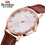 Bestdon мужские водонепроницаемые часы с большим циферблатом и кожаным ремешком.