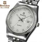 Bestdon мужские водонепроницаемые часы с круглым циферблатом, кристаллами, указывающими время, календариком и ремешком из нержавеющей стали.