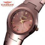 KASSAW женские водонепроницаемые часы с круглым циферблатом и вольфрамовым ремешком.