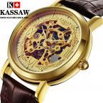 KASSAW водонепроницаемые мужские часы с оригинальным циферблатом и кожаным ремешком.