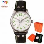 InTimes IT-1066LGS мужские водонепроницаемые часы с круглым циферблатом, календариком и ремешками из кожи и нейлона. (Цвет - зелёный)