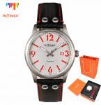 InTimes IT-1066LGS мужские водонепроницаемые часы с круглым циферблатом, календариком и ремешками из кожи и нейлона. (Цвет - красный)