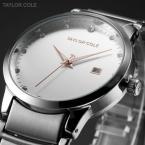 Taylor Cole TC019 женские водонепроницаемые часы с круглым циферблатом, календариком и ремешком из нержавеющей стали.