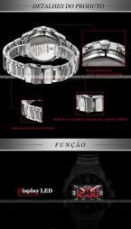 WEIDE WH1009 мужские водонепроницаемые часы с японским механизмом, светодиодным дисплеем и ремешком из нержавеющей стали.