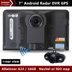 New 7 inch Car GPS Navigation Android rear view Anti Radar Detector Car DVR 1080P Truck vehicle gps AV-IN Tablet PC 16GB