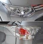 Accessories FIT FOR 2013 2014 MITSUBISHI OUTLANDER CHROME FRONT REAR HEADLIGHT TAILLIGHTTRIM MOLDING