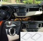 Accessories 4PCS FIT FOR TOYOTA 2013 2014 RAV4 CHROME DASHBOARD AIR VENT COVER TRIM GARNISH MOLDING SURROUND