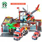 Super Large Fire Station 774 Pcs Building Blocks Compatible with lego Helicopter  / Educational Bricks Toys/ Learning Education