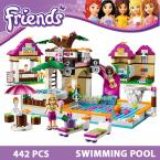 Building Blocks Set  Compatible with lego Friends 442 Pcs 2 Toy Figures DIY Swimming Pool Brinquedos Bricks Toys for Girls