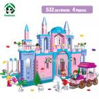 Super Large Building Blocks Set  Compatible with lego Friends 532 Pcs 4 Toy Figures Princess Castle Bricks Toys for Girls
