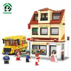 Building Blocks 496 pcs Middle School Bus Compatible with lego / Learning  Education toys / brinquedos educativos/ New Year Gift