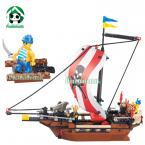 Original box  226 pcs DIY  Building Blocks Compatible with Lego Caribbean Pirate Ship Educational Bricks Toys Gift