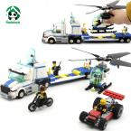 Building Blocks Compatible with lego 393 pcs City Police Helicopter Truck / learning & Education Toys / Brinquedos scale models