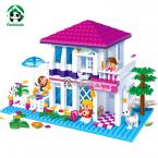 Summer House  Building Blocks Compatible With Lego Friends 425 Pcs 3 Action Toy Figures Bricks Model Building Toys