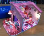 2015 DIY House -- COOKIE Hello Kitty With Furniture & LED Lamps,DIY Cooking Room,  Assembly Miniature Dollouse Toy