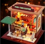 Scale Model Building Toy DIY Free Time Coffee Shop With LED Lamps & Music,Assembly Wooden Miniature Dollhouse Toy