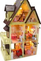 New DIY Toy Dollhouse With 6 Lights For Kids,Free Ship Toy Gift ,Colorful Children Toy House,Educational 3D Model  DIY House