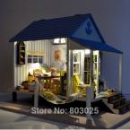Educational Assembly DIY Coast Villa With LED Lamps, Scale Model Miniature Dollhouse Toy, DIY House Toy For Child
