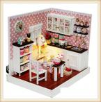 Children's Gift Toy DIY Elegant Wooden Dollhouse of Delicious Time In Kitchen With LED Lamps And Dustproof Cover