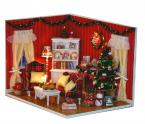 Kids Educational Novelty Assembly Dollhouse DIY Perfect Christmas Party With LED Lamps,DIY Christmas Gift House