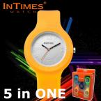 InTimes IT-092 Women Watches 2015 Ladies Dress Watches Silicone Interchangeable Band Quartz Watch 5 in ONE (Color Randomly)
